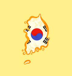 south korea - map colored with korean flag vector image