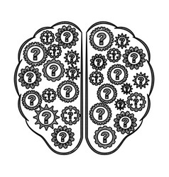 Storm brain with question isolated icon vector