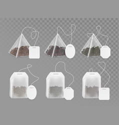 Tea bag with empty white label mock up set vector