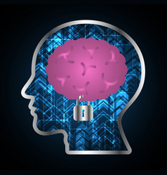 Technology digital cyber security brain lock head vector
