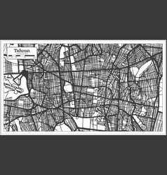 Tehran iran city map in black and white color vector