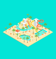 territory of water park concept 3d isometric view vector image