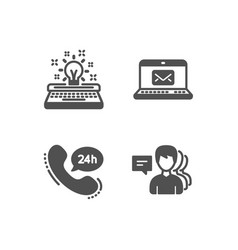 Typewriter e-mail and 24h service icons people vector