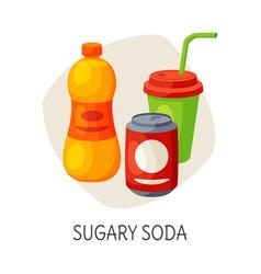 Unhealthy food for brain sugary soda drinks vector