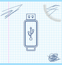 usb flash drive line sketch icon isolated on white vector image