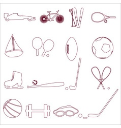 various sport equipment and tools outline icons vector image