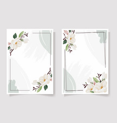 Watercolor hand drawn white magnolia flower and vector