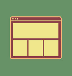 web window sign cordovan icon and mellow vector image