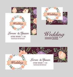 wedding set cards flowers romantic design vector image