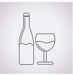 wine glass with bottle icon vector image