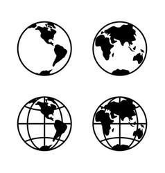 world icon set on white background 2 hemispheres vector image