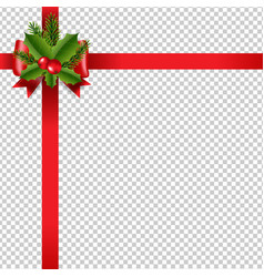 xmas red ribbon bow transparent background vector image