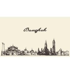 Bangkok skyline Thailand hand drawn vector image