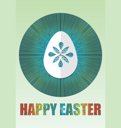 happy easter poster with white paper cuted egg on vector image