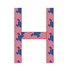Letter H made of USA flags vector image