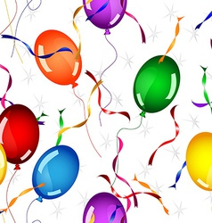 Seamless gifts and balloons pattern over white vector image vector image