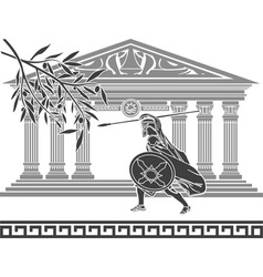 ancient warrior and olive branch vector image vector image
