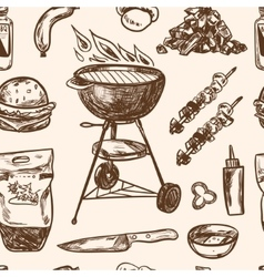 Bbq Grill Sketch seamless pattern Hand Drawn vector image
