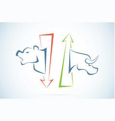 bull and bear symbols with green and red arrows vector image