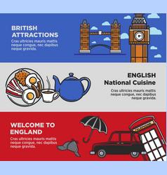 england uk travel tourism landmarks and famous vector image