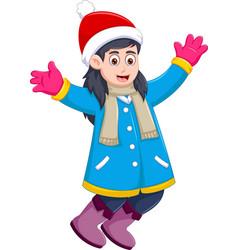 funny girl cartoon wearing winter clothes vector image vector image