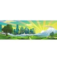 Panorama Landscape - morning the view from the vector image vector image