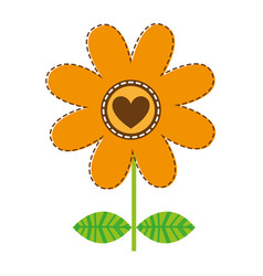 white background with orange daisy flower with vector image
