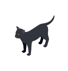 Black cat icon isometric 3d style vector image vector image