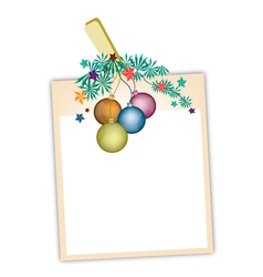 Blank Photos with Christmas Ball vector image vector image