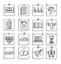 doodle business career development elements set vector image