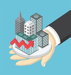 Isometric businessman hand holding the city vector image vector image