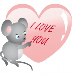 mouse writing on heart vector vector image vector image