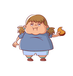 overweight little girl vector image vector image