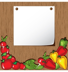 vegetables on wooden background vector image vector image