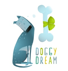 Dog Sitting Dreaming of Bone with Green Ribbon vector image