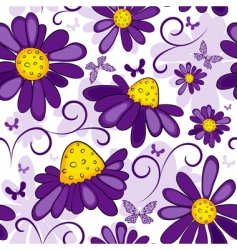 floral seamless white violet pattern vector image vector image