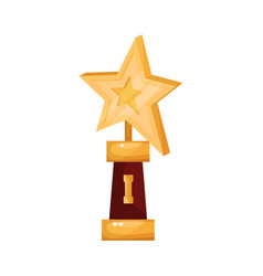 golden star award golden first place prize vector image