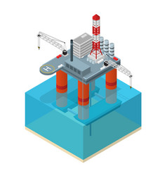 oil industry platform isometric view vector image
