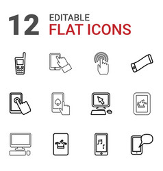 12 touchscreen icons vector image
