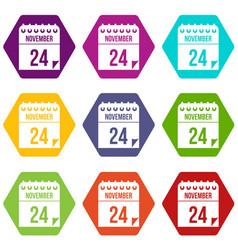 24 november calendar icon set color hexahedron vector image