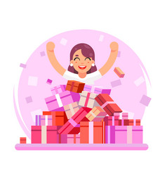 8 march women holiday happy cute girl shopping vector
