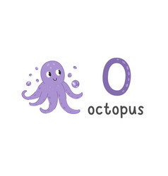 alphabet letter o and octopus vector image