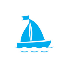 blue silhouette of sailing ship icon on white vector image