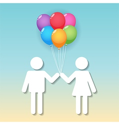 boy and girl with balloons vector image