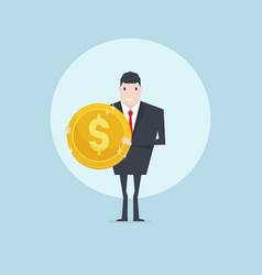businessman holding golden coin in hand vector image