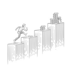 businessman running up stairs with coins - sketch vector image