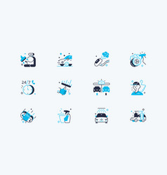 car washing icon set vector image