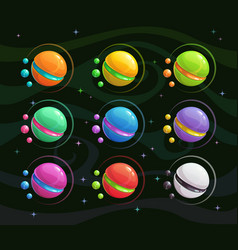 cartoon colorful fantasy planets set vector image