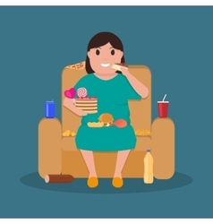 Cartoon fat woman sitting on couch eat junk food vector
