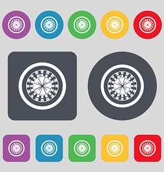 Casino roulette wheel icon sign A set of 12 vector